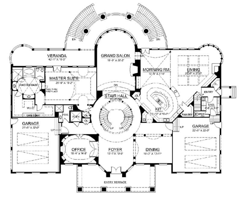 European french home with 6 bdrms 9032 sq ft house for Grand staircase floor plans