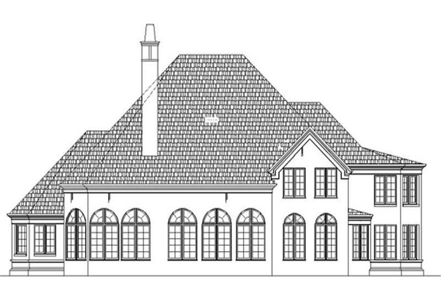 Home Plan Rear Elevation of this 5-Bedroom,3900 Sq Ft Plan -106-1038