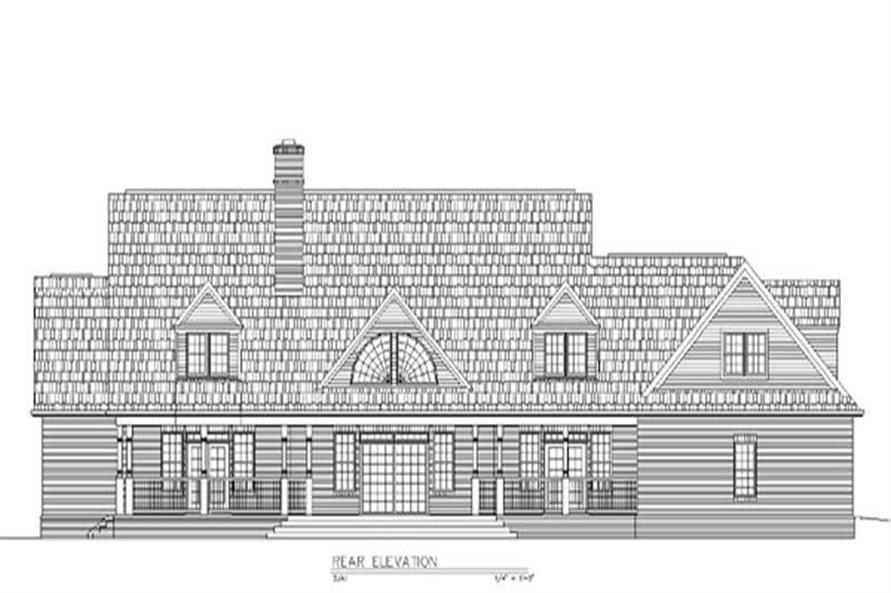Home Plan Rear Elevation of this 4-Bedroom,3867 Sq Ft Plan -106-1039