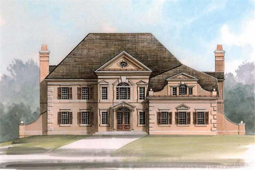 4-Bedroom, 3780 Sq Ft European House Plan - 106-1040 - Front Exterior