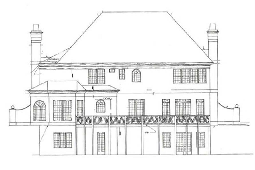 Home Plan Rear Elevation of this 4-Bedroom,3780 Sq Ft Plan -106-1040