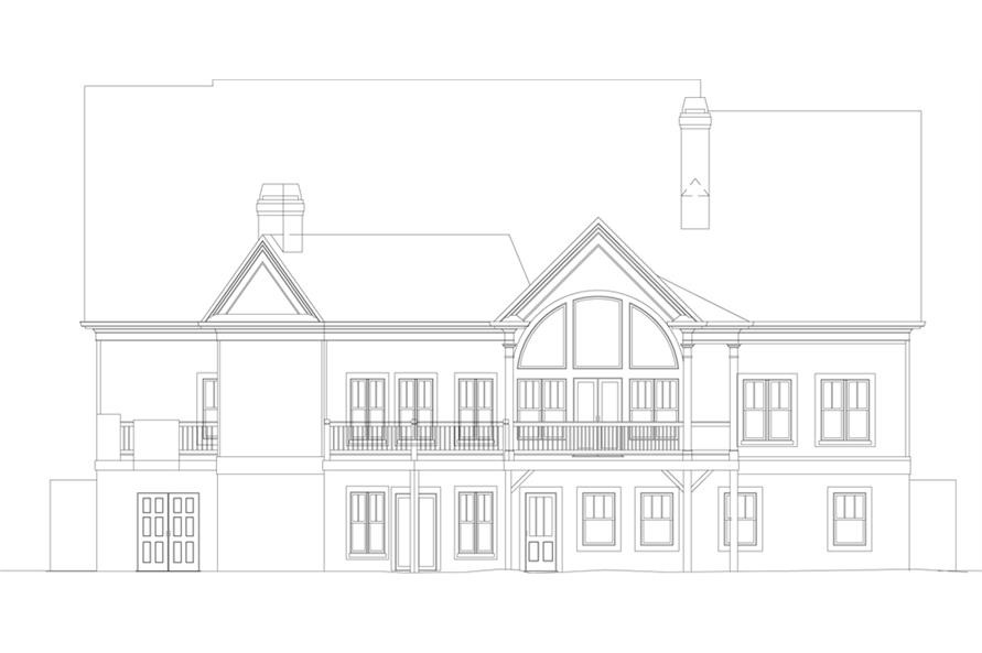 Home Plan Rear Elevation of this 4-Bedroom,2963 Sq Ft Plan -106-1043