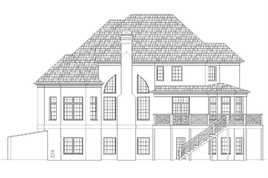 Home Plan Rear Elevation of this 4-Bedroom,3416 Sq Ft Plan -106-1044
