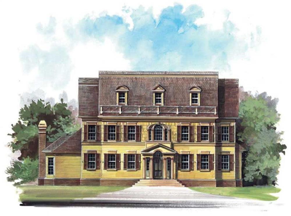 Front elevation of European home (ThePlanCollection: House Plan #106-1046)