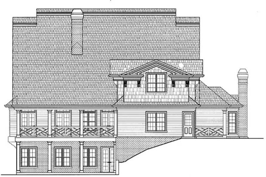 Home Plan Rear Elevation of this 5-Bedroom,3401 Sq Ft Plan -106-1046