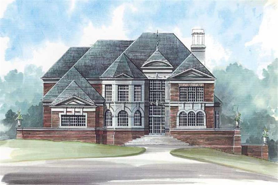 4-Bedroom, 3581 Sq Ft European House Plan - 106-1050 - Front Exterior