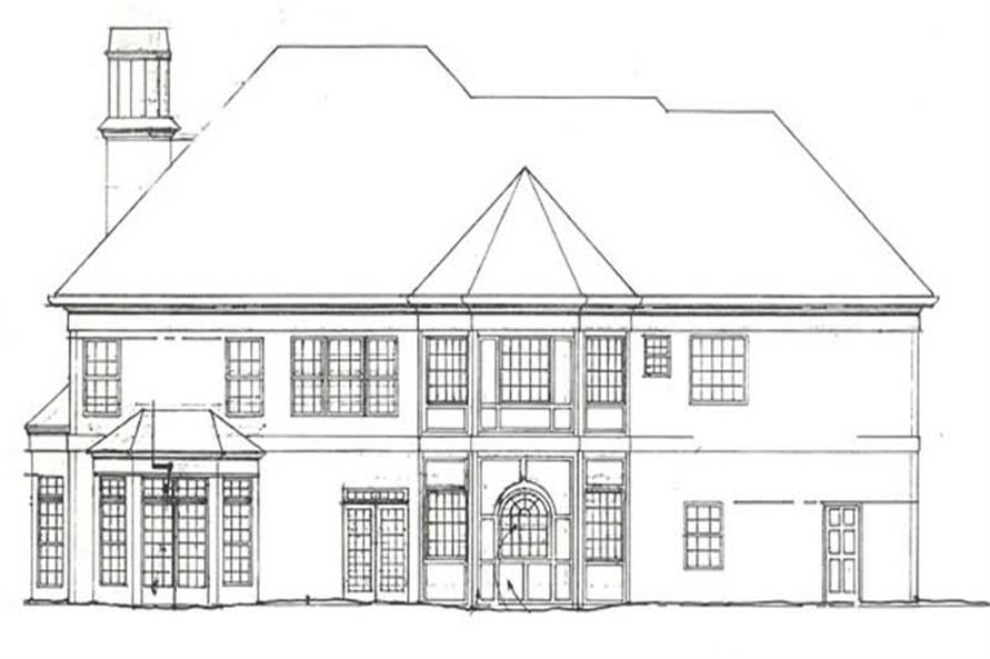 Home Plan Rear Elevation of this 4-Bedroom,3581 Sq Ft Plan -106-1050