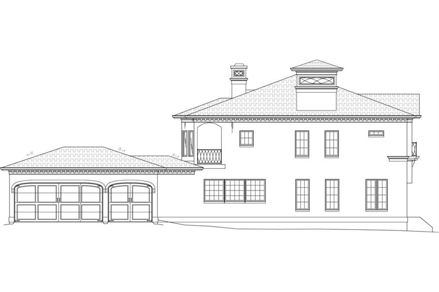 Home Plan Left Elevation of this 4-Bedroom,3405 Sq Ft Plan -106-1051