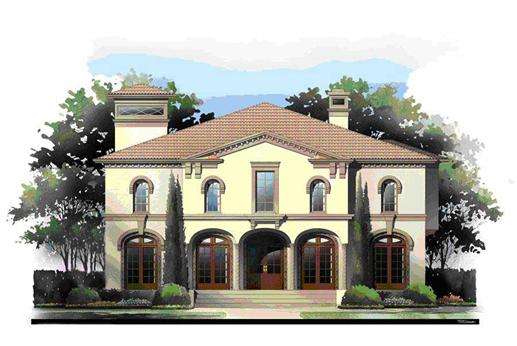 This is an artist's rendering of the front elevation of these Mediterranean House Plans.