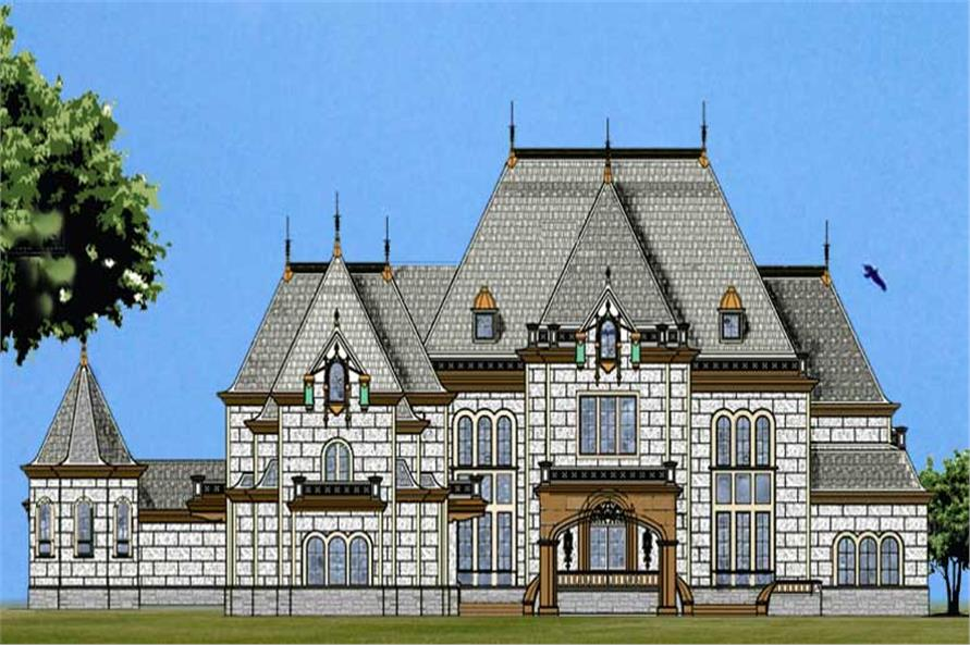 Front elevation of European home (ThePlanCollection: House Plan #106-1052)