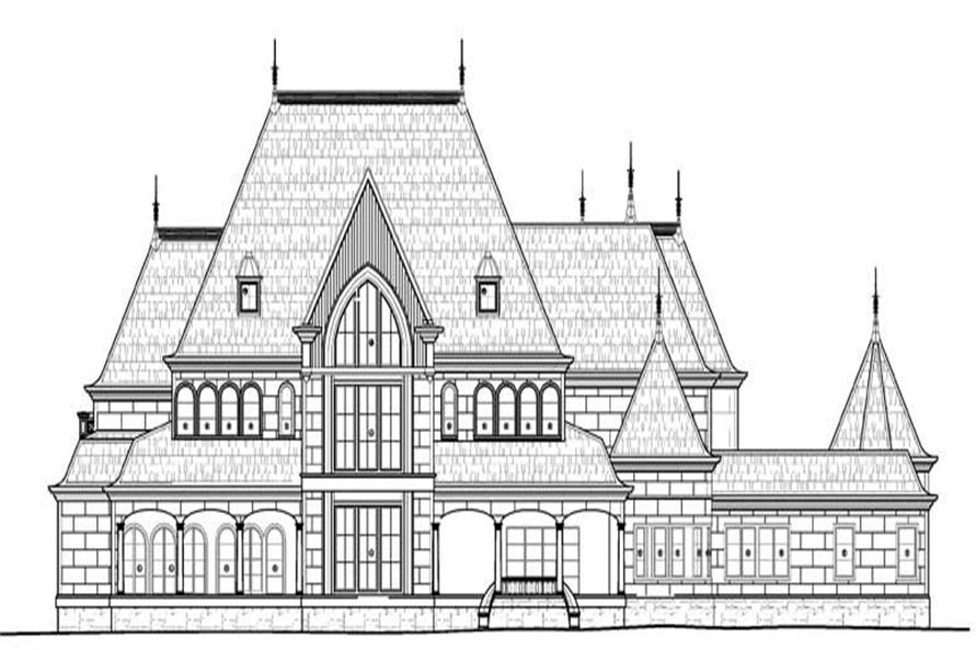 Home Plan Rear Elevation for luxury house plans AR-Cheverny