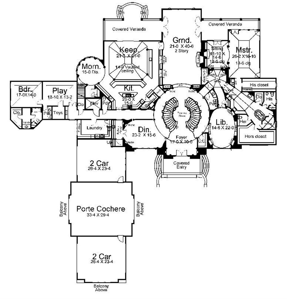 Floor Plan First Story for luxury house plans AR-Cheverny