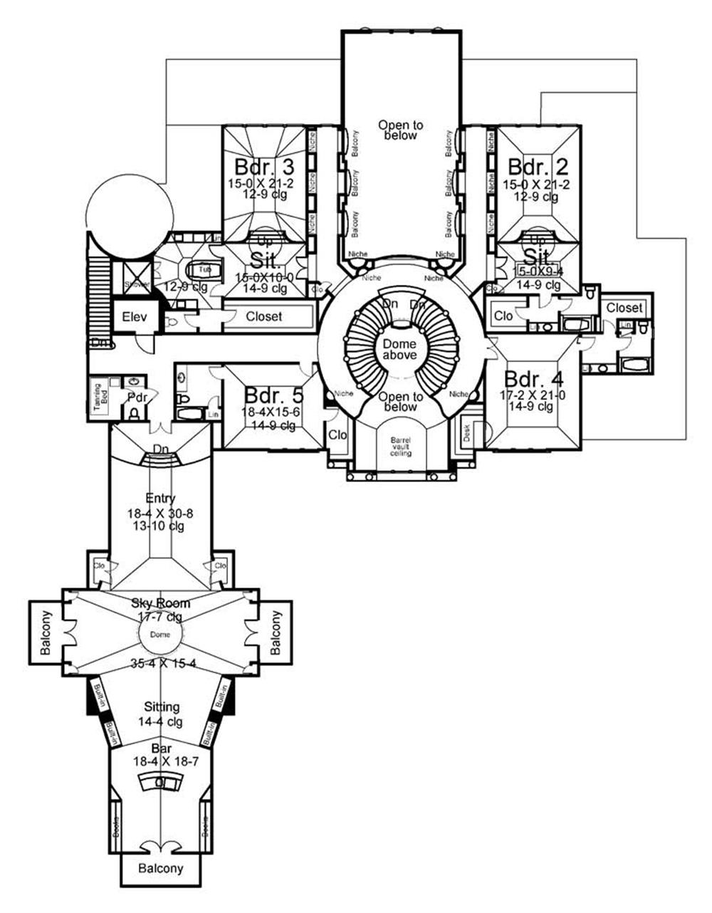 Floor Plan Second Story for luxury home plans AR-Cheverny