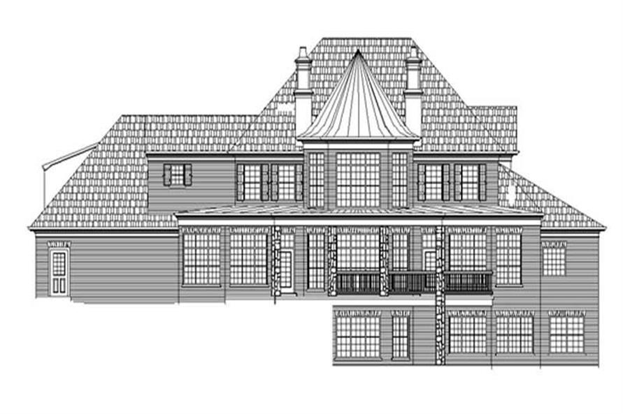 Home Plan Rear Elevation of this 4-Bedroom,4811 Sq Ft Plan -106-1053