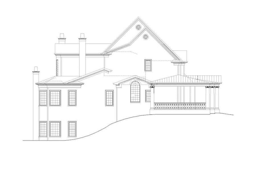 Home Plan Left Elevation of this 5-Bedroom,5083 Sq Ft Plan -106-1063