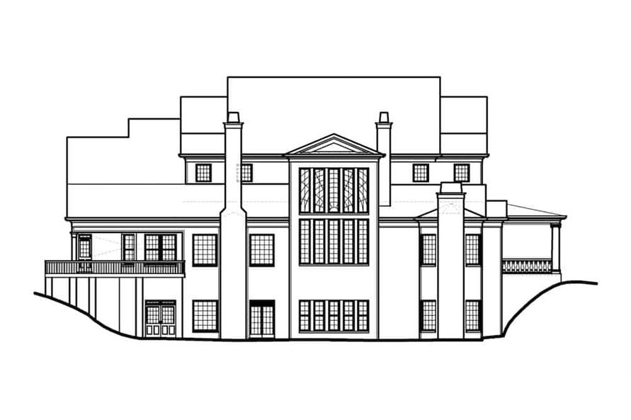 Home Plan Rear Elevation of this 5-Bedroom,5083 Sq Ft Plan -106-1063