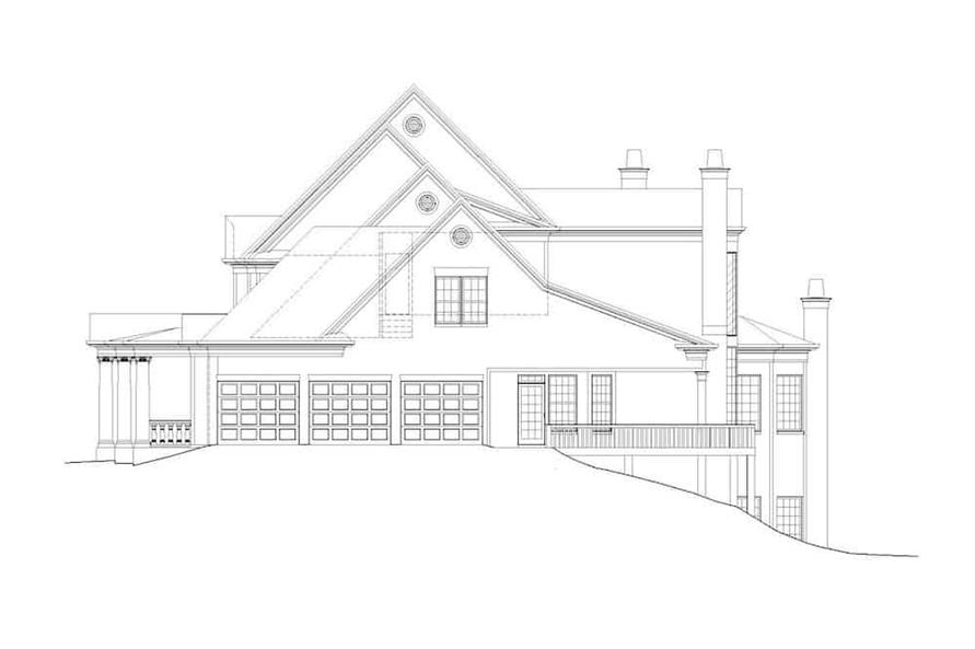 Home Plan Right Elevation of this 5-Bedroom,5083 Sq Ft Plan -106-1063