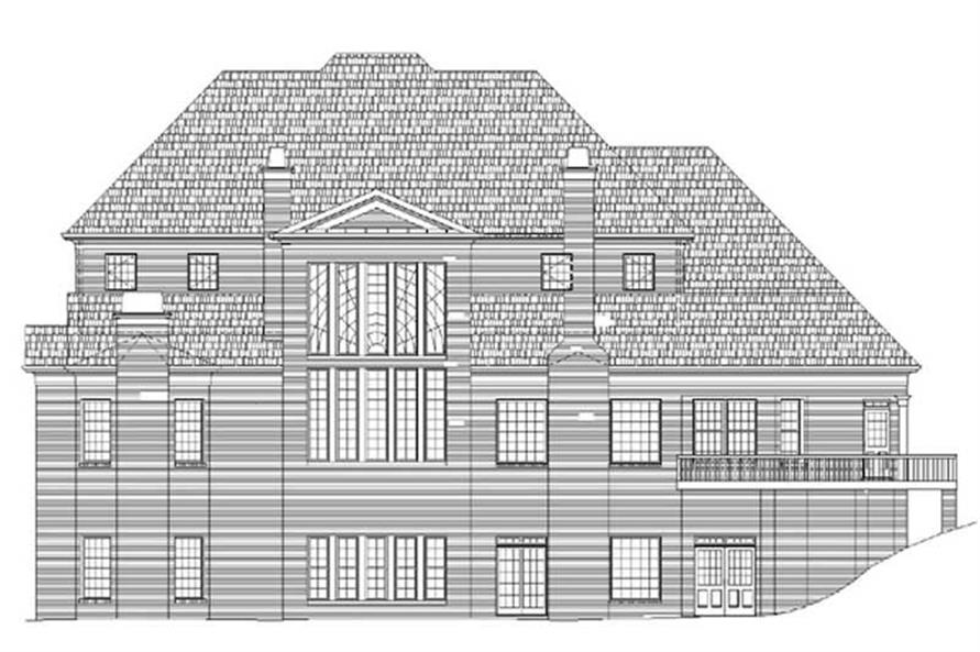 Home Plan Rear Elevation of this 5-Bedroom,5083 Sq Ft Plan -106-1064