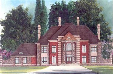 5-Bedroom, 6615 Sq Ft European House Plan - 106-1069 - Front Exterior