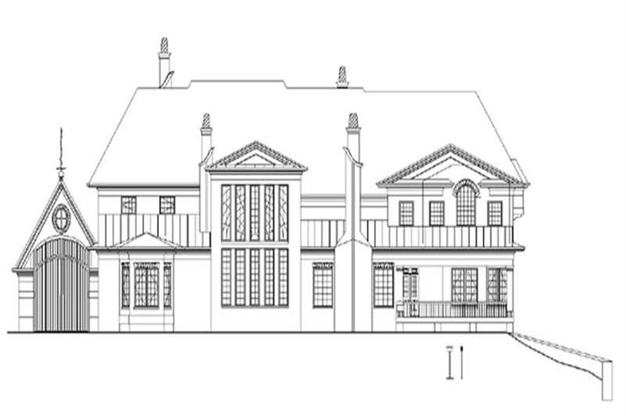 Home Plan Rear Elevation of this 5-Bedroom,6972 Sq Ft Plan -106-1071
