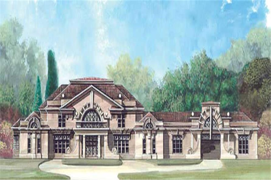 5-Bedroom, 7577 Sq Ft European House Plan - 106-1074 - Front Exterior