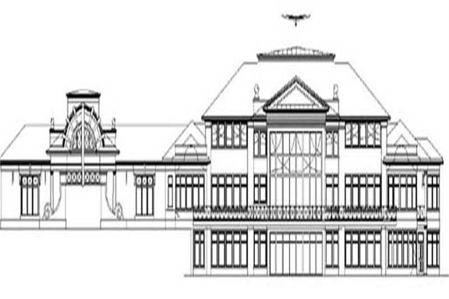 Home Plan Rear Elevation of this 5-Bedroom,7577 Sq Ft Plan -106-1074