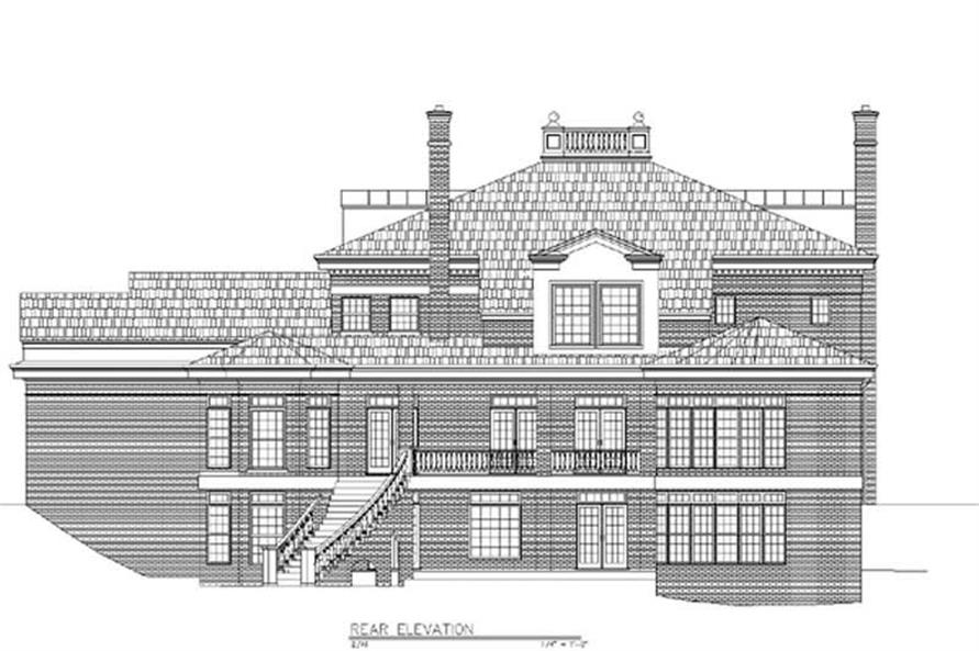 Home Plan Rear Elevation of this 4-Bedroom,5729 Sq Ft Plan -106-1075