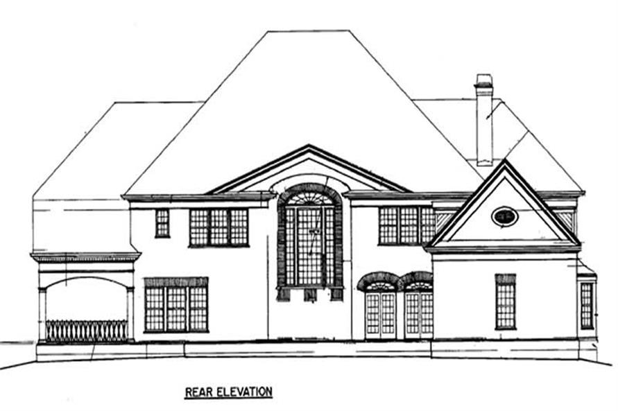 Home Plan Rear Elevation of this 5-Bedroom,5717 Sq Ft Plan -106-1077