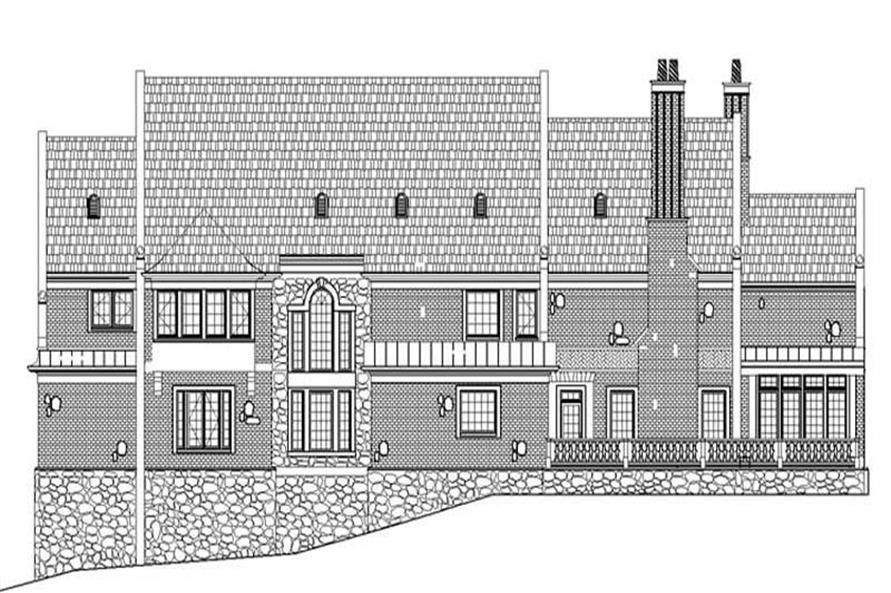Home Plan Rear Elevation of this 5-Bedroom,6975 Sq Ft Plan -106-1079