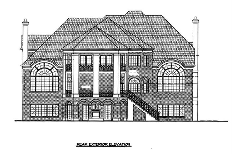 Home Plan Rear Elevation of this 4-Bedroom,4390 Sq Ft Plan -106-1080