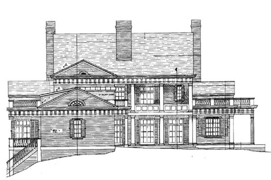 Home Plan Rear Elevation of this 4-Bedroom,6987 Sq Ft Plan -106-1081