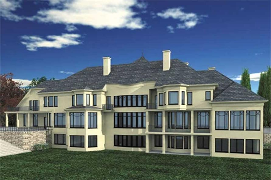 Home Plan Rear Elevation of this 5-Bedroom,7885 Sq Ft Plan -106-1083