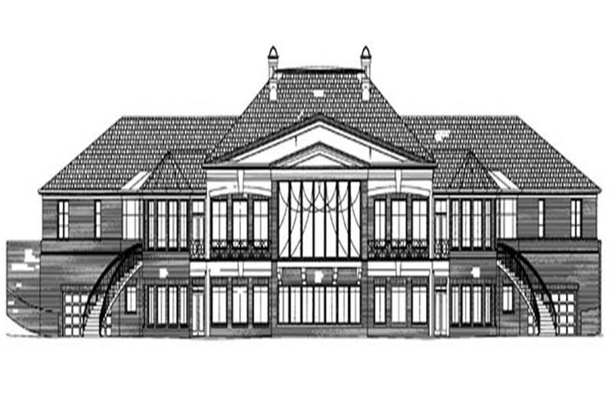 Home Plan Rear Elevation of this 4-Bedroom,7281 Sq Ft Plan -106-1084