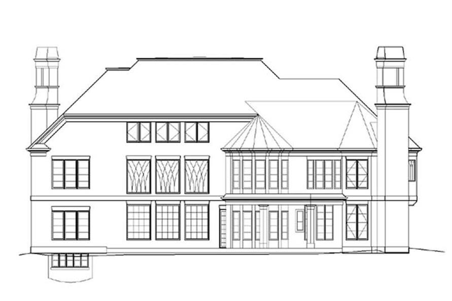 Home Plan Rear Elevation of this 6-Bedroom,7157 Sq Ft Plan -106-1085
