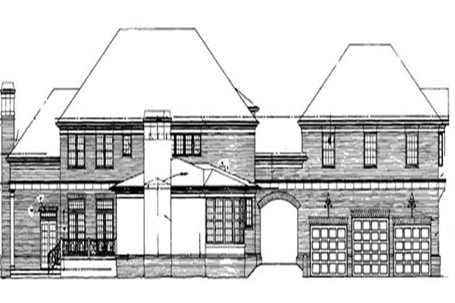 Home Plan Rear Elevation of this 4-Bedroom,4111 Sq Ft Plan -106-1089