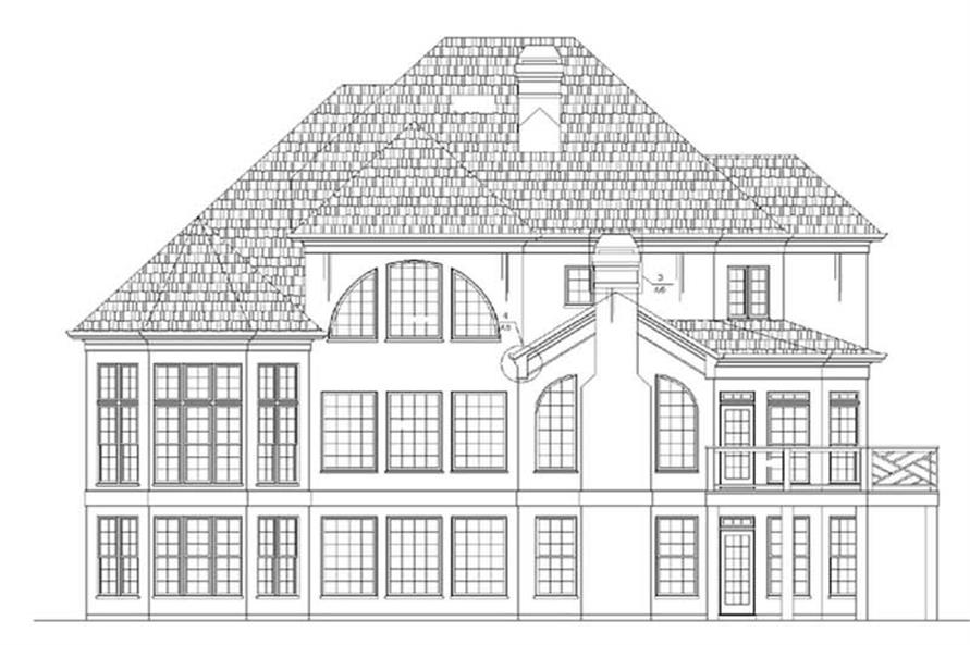 Home Plan Rear Elevation of this 4-Bedroom,3429 Sq Ft Plan -106-1093