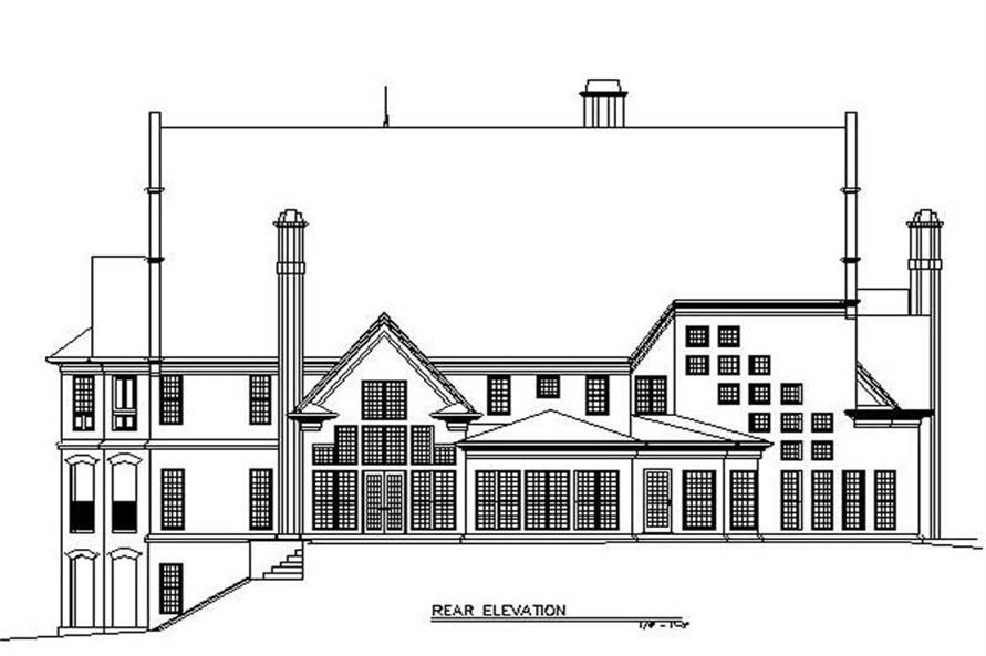 Home Plan Rear Elevation of this 5-Bedroom,4697 Sq Ft Plan -106-1094