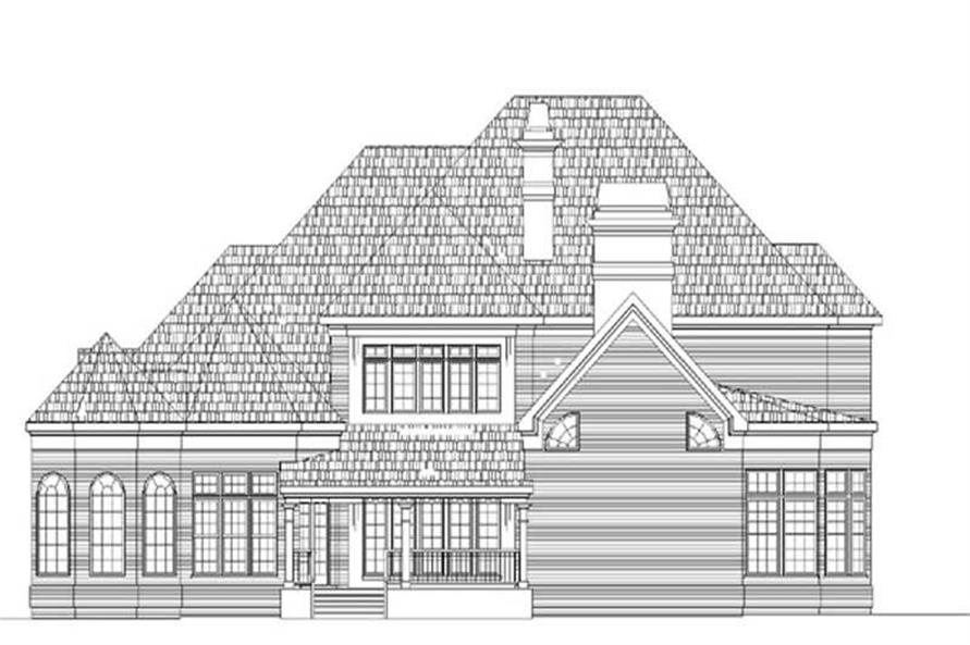 Home Plan Rear Elevation of this 4-Bedroom,4550 Sq Ft Plan -106-1095