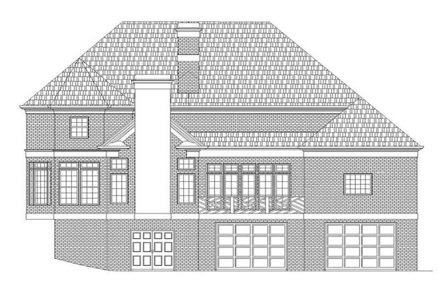 Home Plan Rear Elevation of this 4-Bedroom,3447 Sq Ft Plan -106-1100