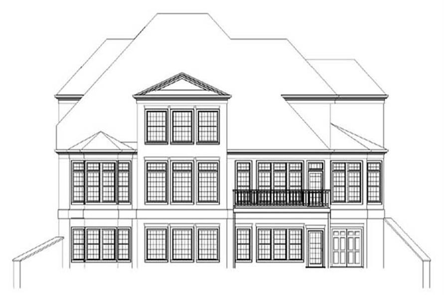 Home Plan Rear Elevation of this 4-Bedroom,3983 Sq Ft Plan -106-1104