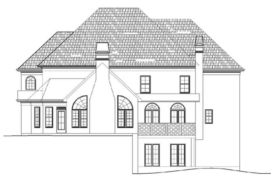 Home Plan Rear Elevation of this 3-Bedroom,3650 Sq Ft Plan -106-1106