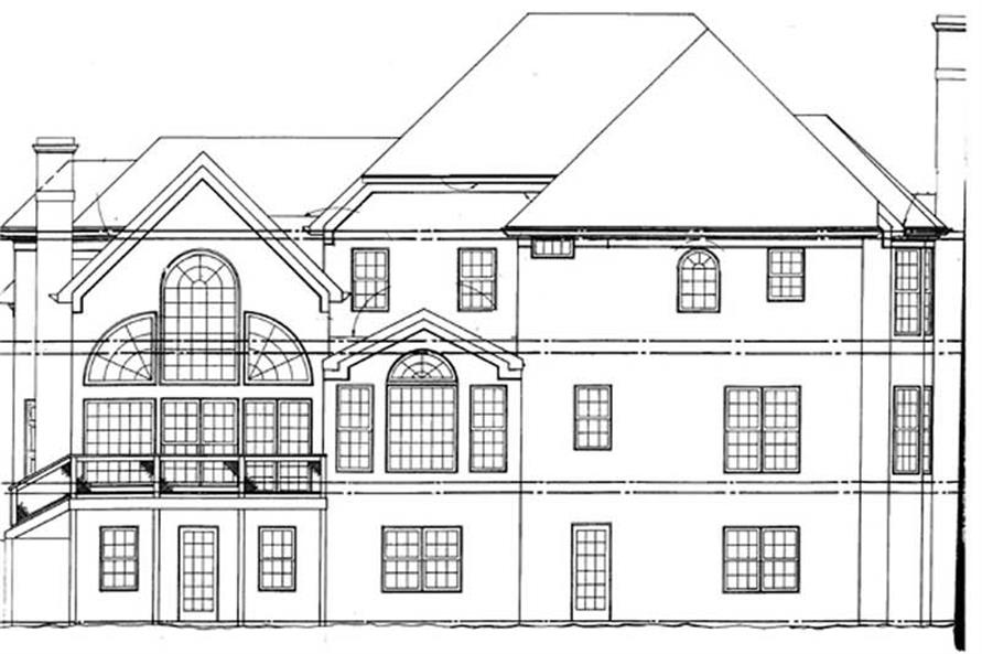 Home Plan Rear Elevation of this 5-Bedroom,3613 Sq Ft Plan -106-1107
