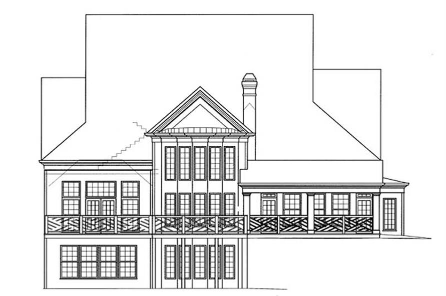 Home Plan Rear Elevation of this 3-Bedroom,4408 Sq Ft Plan -106-1108