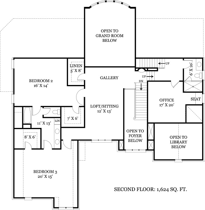 106-1108 house plan second level