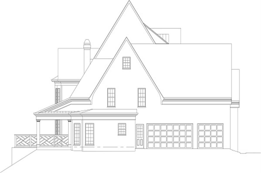 Home Plan Left Elevation of this 3-Bedroom,4408 Sq Ft Plan -106-1108