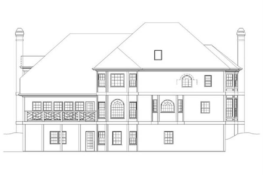 Home Plan Rear Elevation of this 4-Bedroom,3385 Sq Ft Plan -106-1115