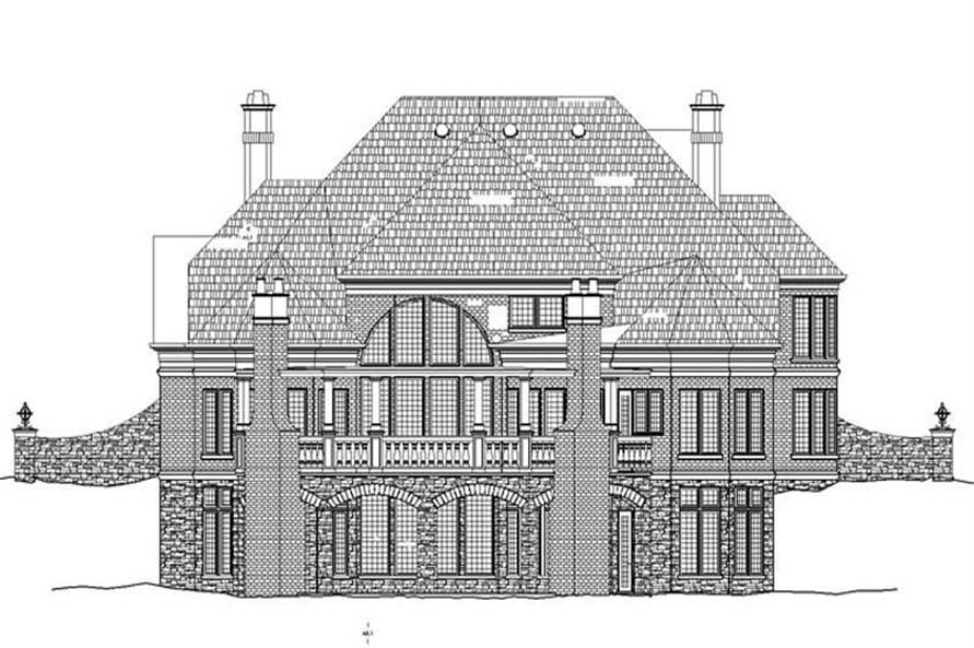 Home Plan Rear Elevation of this 4-Bedroom,3376 Sq Ft Plan -106-1116