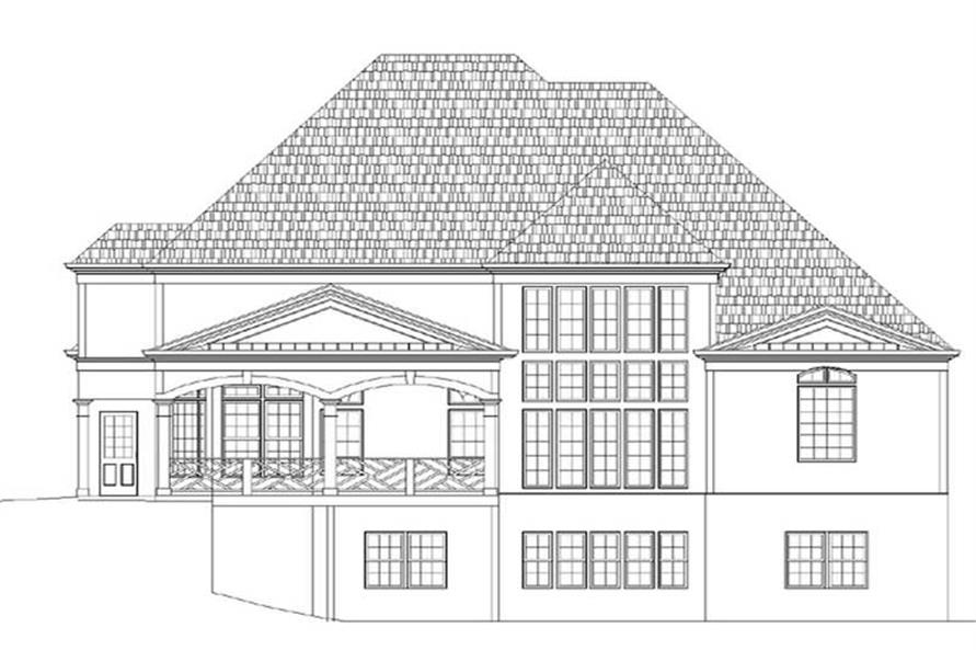 Home Plan Rear Elevation of this 4-Bedroom,3363 Sq Ft Plan -106-1117
