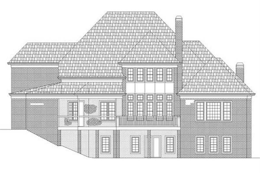 Home Plan Rear Elevation of this 4-Bedroom,4222 Sq Ft Plan -106-1118