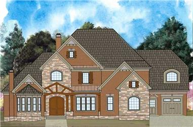 4-Bedroom, 4222 Sq Ft European Home Plan - 106-1118 - Main Exterior